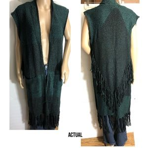 Romeo & Juliet Couture Long Fringed  Sweater Vest